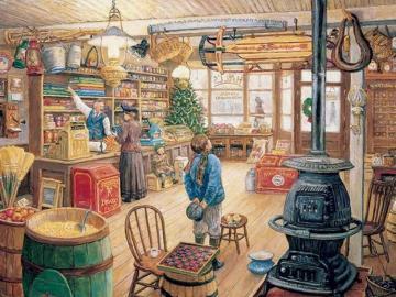 w starym sklepie - Wnetrze starego sklepu, ilustracja