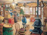 in an old store - Interior of an old store, illustration