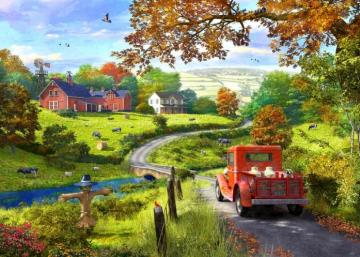 rural life, puzzle - rural life, houses, fields, meadows, puzzle, landscape