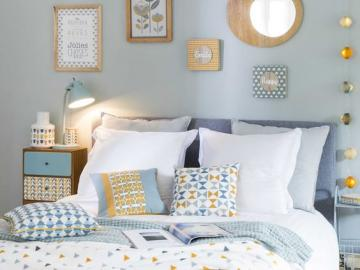 Przytulna sypialnia - Pastelowa, przytulna sypialnia - wystrój wnętrz
