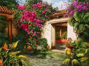 malarstwo , rezydencja - malarstwo , rezydencja , ogród , kwiaty , palmy