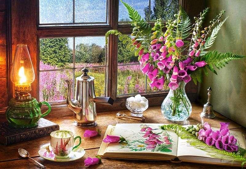Wnętrze z widokiem. - Układanka: wnętrze z widokiem. Kwiaty w oknie i za oknem. Kwiaty w oknie i za oknem.