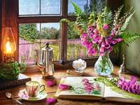 Interior with a view. - Puzzle: interior with a view. Flowers in the window and outside the window. Flowers in the window an