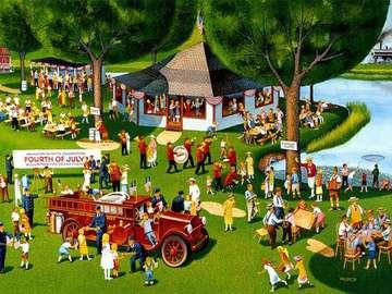 Picknick am Wasser - Picknick über dem Wasser, Illustration