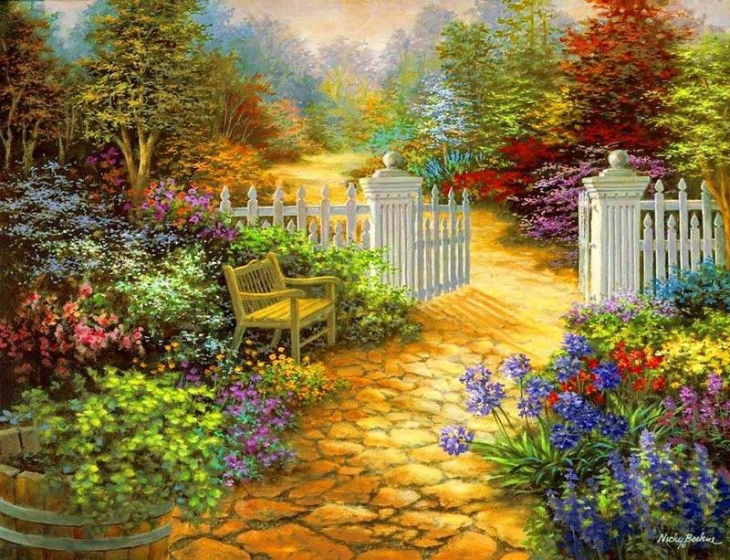 Jardin peint - Art. Peinture. Jardin (10×10)