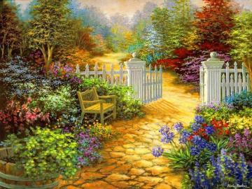 Ένας ζωγραφισμένος κήπος. - Art. Ζωγραφική. Κήπος.