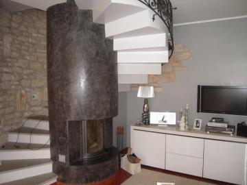 helical staircase - helical staircase with central fireplace