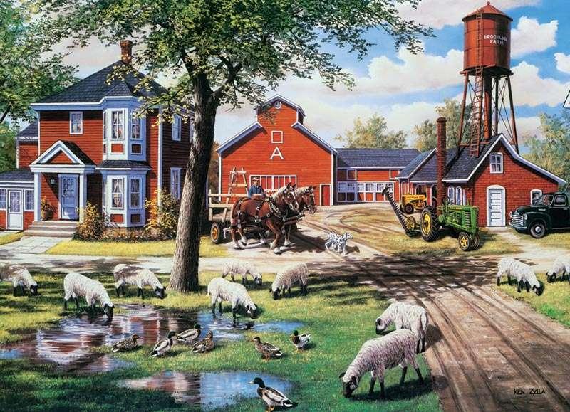 Αγροτικό τοπίο - Wiejski krajobraz z owcami (10×10)