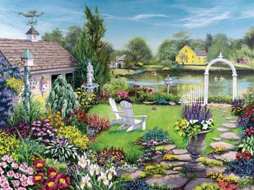 Garden puzzle. - Garden puzzle ... Landscape. Lovely village. Lovely village.
