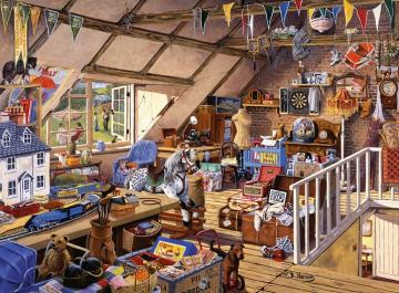 In the attic. - Jigsaw puzzle. Building. In the attic.