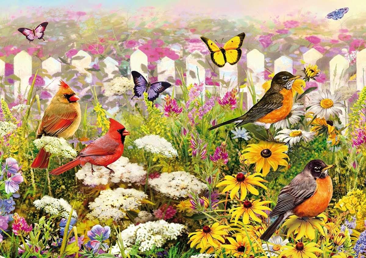 Kwiaty, ptaki i motyle.