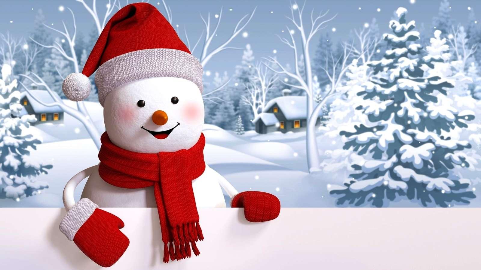 sněhulák - sněhulák ze sněhu (8×6)