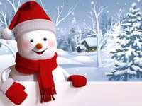 снежен човек - снежен човек, направен от сняг