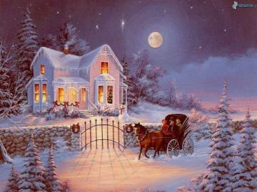 Zimowy krajobraz - zimowa pora przed domem
