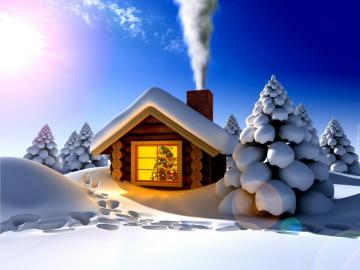 Domek w gorach - domek zimowa pora w gorach