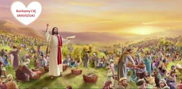 YAHUSHUA miracle of bread and fish multiplication for 5,000 people - Bible scene. Jesus feeds the hungry.