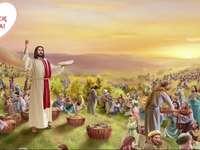 YAHUSHUA θαύμα του ψωμιού και του πολλαπλασιασμού ψαριών για 5.000 άτομα - Αγία Γραφή. Ο Ιησούς ταΐζει τους πεινασμένους.