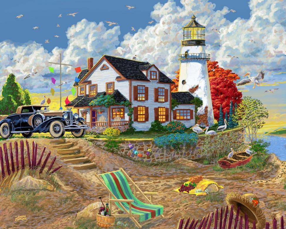 Εικόνα διακοπών - Εικόνα με φάρο. Παζλ. Εικόνα. Διακοπές (15×15)