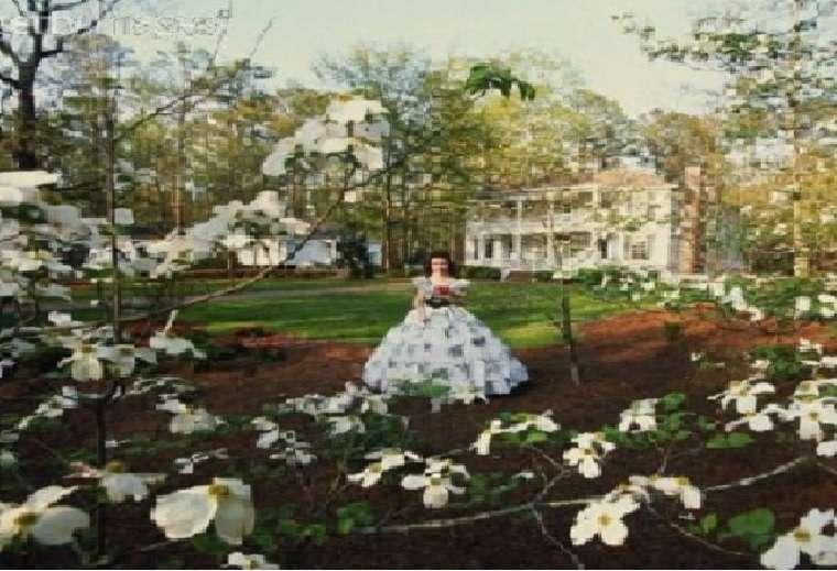 Tara à emporté avec le vent - Scarlett Ohara, Rhett Butler, guerre civile américaine. Midi, femme, amour, épopée, (15×15)