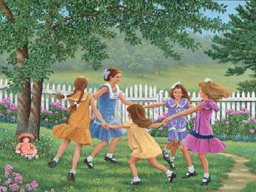 dancing girls - meadow dance, countryside, vacation