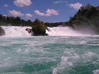 Rhine waterfall. - Puzzle: a waterfall on the Rhine.