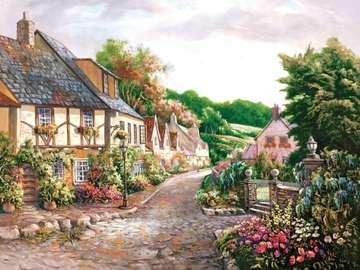 Villaggio inglese. - Paesaggio del villaggio inglese. Puzzle: villaggio dipinto. Un villaggio dipinto.