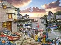 Pêcheurs dans la baie - Port, soirée, bateaux, bateaux de pêche, pêcheurs