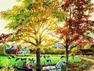Jesień na farmie. - Krajobraz. Jesień na farmie.