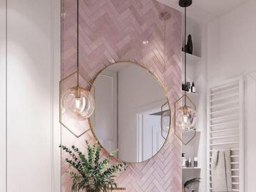 Łazienka w kobiecym stylu - Aranżacja łazienki w kobiecym stylu, pudrowy róż