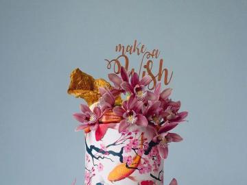 Un pastel increíble - Pastel de colores con motivos florales