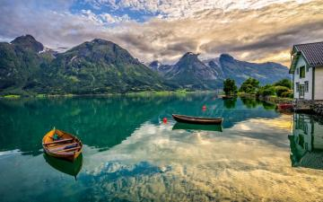 Village of Oppstryn, Norway - Puzzle from the travel category. Oppstryn is a village in western Norway, in the county of Sogn og F
