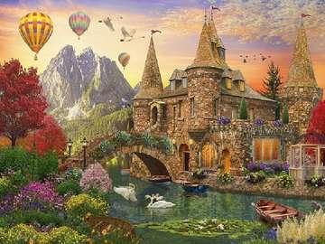 Image colorée - Château, pont, ballons, paysage de conte de fées