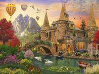 Colorful picture - Castle, bridge, balloons, fairytale landscape