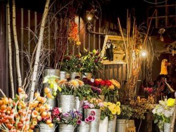 Un merveilleux fleuriste - Une belle fleuriste pleine de fleurs