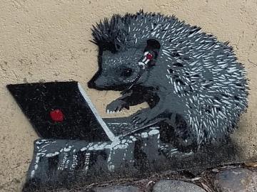 mural  jeżyk - mural z grającym jeżykiem