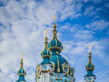 Orthodox church of St. Andrew's in Kiev - Kiev is the capital and largest city of Ukraine on the Dnieper River. It has the status of a separat