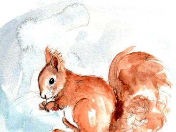 Das Bild eines Eichhörnchens - Eichhörnchen auf Leinwand. Künstlerisches Puzzle online, Kunst in Spielen.