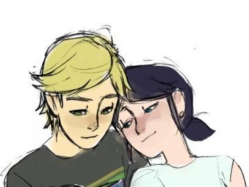 adrinette love - Mari descansa en el hombro de Adrien mientras él lee un libro