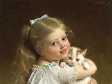 śliczna dziewczynka z bardzo ładny kotem - śliczna dziewczynka z bardzo ładny kotem