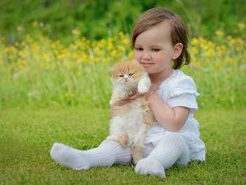 bella ragazza con adorabile gattino - bella ragazza con adorabile gattino