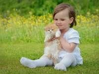 schönes Mädchen mit schönen Kätzchen - schönes Mädchen mit schönen Kätzchen