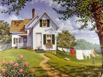 Cottage in a rural landscape. - Cottage in a rural landscape.