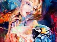 Papagei, Frau - Kunst - Ein schönes buntes Gemälde mit einem Papagei darauf