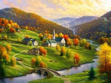 Jesienny krajobraz. - Układanka: jesienny krajobraz.