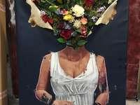 Quebra-cabeça de arte moderna com flores