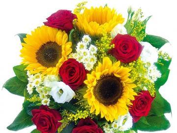 Słoneczniki z różami - bukiet słoneczników i róż
