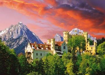 Castle in the mountains. - Puzzle: mountain landscape. Castle building in the mountains. Castle building.