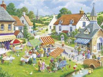 Idyllic town. - Idyllic town landscape. English idyllic afternoon. Idyllic afternoon.
