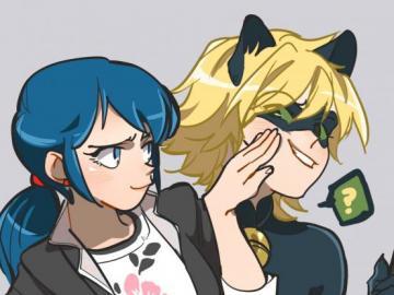 marichat - mari y chat noir, en una divertida imagen
