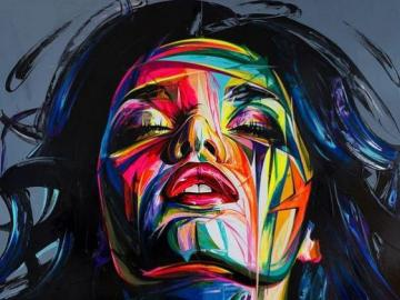 Artistic painting, colorful woman